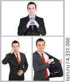 Купить «Молодой бизнесмен или предприниматель. Коллаж из нескольких снимков», фото № 4331006, снято 4 августа 2020 г. (c) Vitas / Фотобанк Лори