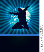 Купить «Танцор на голубом фоне с диско-шаром», иллюстрация № 4332970 (c) Анна Павлова / Фотобанк Лори