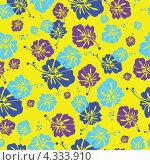Желтый бесшовный фон с голубыми и фиолетовыми цветами гибискуса. Стоковая иллюстрация, иллюстратор Ольга Алексеева / Фотобанк Лори