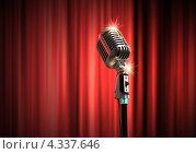 Купить «Старинный микрофон на переливающемся роскошном красном фоне», фото № 4337646, снято 21 октября 2018 г. (c) Sergey Nivens / Фотобанк Лори