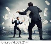 Купить «Деловой спор. Два бизнесмена стоят друг напротив друга в позах борцов среди летающих документов и бумаг», фото № 4339214, снято 25 мая 2018 г. (c) Sergey Nivens / Фотобанк Лори