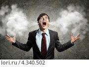 Купить «Дойти до кипения. Бизнесмен с идущим из ушей дымом или паром кричит от злости», фото № 4340502, снято 27 ноября 2012 г. (c) Sergey Nivens / Фотобанк Лори