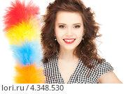 Купить «Очаровательная домохозяйка с метелкой для пыли», фото № 4348530, снято 3 января 2010 г. (c) Syda Productions / Фотобанк Лори