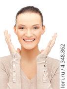 Купить «Счастливая девушка смеется от радости на белом фоне», фото № 4348862, снято 22 октября 2011 г. (c) Syda Productions / Фотобанк Лори