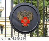 Герб на ограде центрального входа в Национальный медико-хирургический центр им. Н.И. Пирогова, Москва (2009 год). Стоковое фото, фотограф lana1501 / Фотобанк Лори