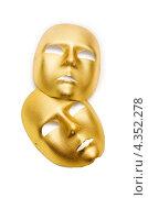 Купить «Две золотистые театральные маски на белом фоне», фото № 4352278, снято 27 ноября 2012 г. (c) Elnur / Фотобанк Лори