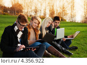 Купить «Молодые люди и девушки с ноутбуками сидят на траве в парке», фото № 4356922, снято 20 октября 2012 г. (c) Сергей Новиков / Фотобанк Лори