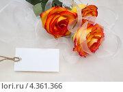 Оранжевые розы с пустой биркой. Стоковое фото, фотограф Liudmila Yunchenko / Фотобанк Лори