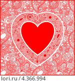 Купить «Фон с узорами и красным сердцем», иллюстрация № 4366994 (c) Олеся Каракоця / Фотобанк Лори
