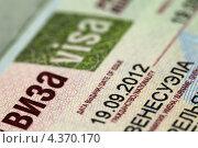Купить «Российская виза в загранпаспорте», фото № 4370170, снято 4 марта 2013 г. (c) Игорь Долгов / Фотобанк Лори