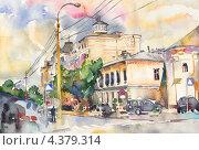 Городской пейзаж. Акварель. Стоковая иллюстрация, иллюстратор Олеся Каракоця / Фотобанк Лори