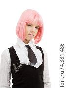 Купить «Девушка-подросток с розовыми волосами в школьной форме», фото № 4381486, снято 12 мая 2007 г. (c) Syda Productions / Фотобанк Лори