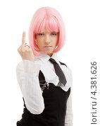 Купить «Девушка-подросток эмо с розовыми волосами в школьной форме показывает средний палец», фото № 4381626, снято 12 мая 2007 г. (c) Syda Productions / Фотобанк Лори
