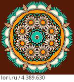 Купить «Окружность с абстрактным узором на коричневом фоне», иллюстрация № 4389630 (c) Олеся Каракоця / Фотобанк Лори