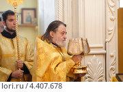Купить «Праздничная литургия в Преображенском храме города Балашиха», эксклюзивное фото № 4407678, снято 12 марта 2013 г. (c) Дмитрий Неумоин / Фотобанк Лори
