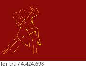 Купить «Контуры танцующей пары на бордовом фоне», иллюстрация № 4424698 (c) Ирина Балина / Фотобанк Лори