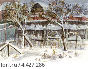 Зимний сад. Акварельный рисунок. Стоковая иллюстрация, иллюстратор Ковалева Наталья / Фотобанк Лори