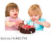 Купить «Дети едят торт», фото № 4443714, снято 29 января 2013 г. (c) Андрей Армягов / Фотобанк Лори
