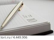 Шариковая ручка лежит на развернутом ежедневнике. Стоковое фото, фотограф Михаил Бессмертный / Фотобанк Лори