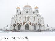 Храм Христа Спасителя во время снегопада. Стоковое фото, фотограф Георгий Курятов / Фотобанк Лори