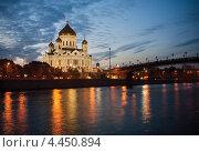 Храм Христа Спасителя ночью (2012 год). Стоковое фото, фотограф Георгий Курятов / Фотобанк Лори