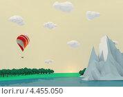 Пейзаж с воздушным шаром. Стоковая иллюстрация, иллюстратор Константин Скуридин / Фотобанк Лори
