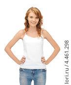 Купить «Красивая стройная девушка в джинсах на белом фоне», фото № 4461298, снято 2 июня 2012 г. (c) Syda Productions / Фотобанк Лори