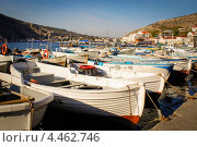 Рыбацкие лодки, стоящие в несколько рядов у причала (2012 год). Редакционное фото, фотограф Моисеева Светлана / Фотобанк Лори