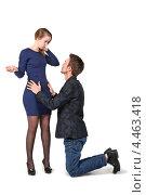 Купить «Мужчина стоит на коленях перед женщиной», фото № 4463418, снято 30 марта 2013 г. (c) Татьяна Белова / Фотобанк Лори