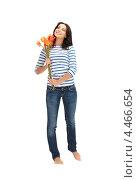 Купить «Привлекательная девушка в тельняшке с букетом ярких цветов на белом фоне», фото № 4466654, снято 12 апреля 2012 г. (c) Syda Productions / Фотобанк Лори