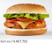 Купить «Гамбургер крупным планом», фото № 4467702, снято 25 августа 2019 г. (c) Food And Drink Photos / Фотобанк Лори