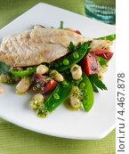 Купить «Морской окунь с фасолевым салатом», фото № 4467878, снято 23 мая 2019 г. (c) Food And Drink Photos / Фотобанк Лори