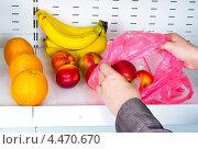 Купить «Девушка накладывает фрукты в полиэтиленовый пакет», фото № 4470670, снято 23 августа 2011 г. (c) Юлия Гапеенко / Фотобанк Лори