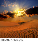 Купить «Пустынный закат, вечерний пейзаж», фото № 4475942, снято 28 ноября 2012 г. (c) Михаил Коханчиков / Фотобанк Лори
