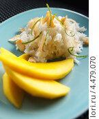 Купить «Тарелка с рисом и манго, тайское блюдо», фото № 4479070, снято 21 ноября 2019 г. (c) Food And Drink Photos / Фотобанк Лори