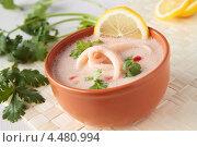 Купить «Суп из кальмаров с кокосовым молоком», фото № 4480994, снято 7 апреля 2013 г. (c) Наталья Евстигнеева / Фотобанк Лори
