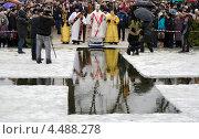 Купить «Религиозный христианский праздник Крещение Господне. Освящение воды епископом Новомосковским Евлогием», фото № 4488278, снято 19 января 2013 г. (c) Несинов Олег / Фотобанк Лори