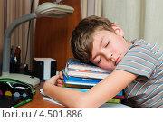 Купить «Мальчик-подросток заснул на учебниках за письменным столом», эксклюзивное фото № 4501886, снято 7 апреля 2013 г. (c) Игорь Низов / Фотобанк Лори