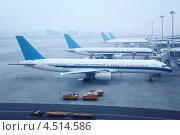 Купить «Несколько самолетов в аэропорту туманным утром», фото № 4514586, снято 20 ноября 2011 г. (c) Losevsky Pavel / Фотобанк Лори