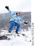 Купить «Сноубордист в прыжке», фото № 4515234, снято 14 февраля 2012 г. (c) Losevsky Pavel / Фотобанк Лори