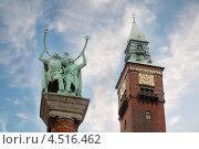 Купить «Памятник викингам и часовая башня Ратуши в Копенгагене, Дания», фото № 4516462, снято 23 июля 2011 г. (c) Losevsky Pavel / Фотобанк Лори