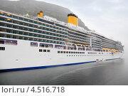 Купить «Большой белый пассажирский лайнер с желтыми трубами во фьорде», фото № 4516718, снято 25 июля 2011 г. (c) Losevsky Pavel / Фотобанк Лори