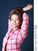 Купить «Красивая молодая брюнетка в розовой клетчатой рубашке», фото № 4517762, снято 12 ноября 2011 г. (c) Losevsky Pavel / Фотобанк Лори