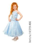 Купить «Рыжеволосая девочка в голубом платье на белом фоне», фото № 4519466, снято 23 апреля 2012 г. (c) Сергей Сухоруков / Фотобанк Лори