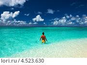Мужчина купается в океане на тропическом курорте. Стоковое фото, фотограф Николай Охитин / Фотобанк Лори