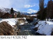 Горная река и деревня во Французских Альпах (2012 год). Стоковое фото, фотограф Алексей Иванов / Фотобанк Лори