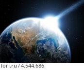 Падение метеорита на Землю. Катастрофа. Стоковая иллюстрация, иллюстратор Triff / Фотобанк Лори