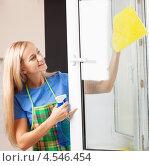Купить «Девушка моет окно», фото № 4546454, снято 22 марта 2013 г. (c) Гладских Татьяна / Фотобанк Лори