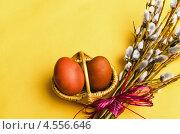 Купить «Ветви ивы и два пасхальных яйца в корзине», фото № 4556646, снято 24 апреля 2013 г. (c) Игорь Соколов / Фотобанк Лори