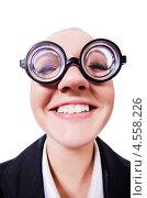 Купить «Женщина в смешных очках с толстыми стеклами», фото № 4558226, снято 12 марта 2013 г. (c) Elnur / Фотобанк Лори